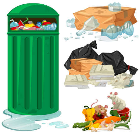 Trashcan and different types of trash illustration Vectores