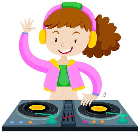 DJ playing music with DJ machine illustration Illustration