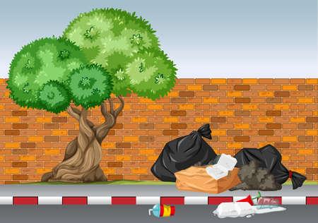 Scene with trash under the tree illustration