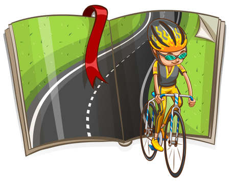 road cycling: Man cycling and empty road in the book illustration