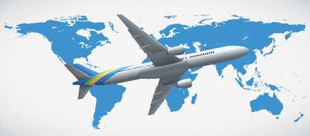 World map and airplane flying illustration Illustration