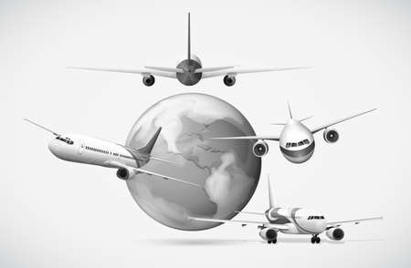 Airplanes flying around the earth in grayscale illustration