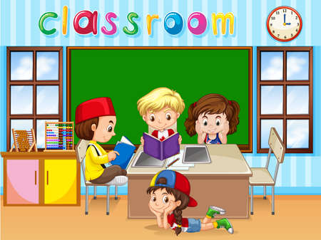 studying classroom: Four kids studying in classroom illustration Illustration