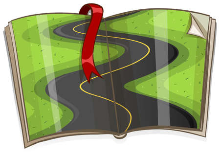curve road: Curve road on the book illustration