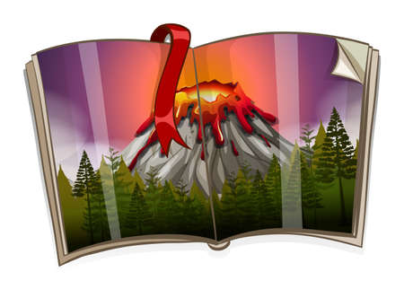 Book with volcano scene illustration Illustration