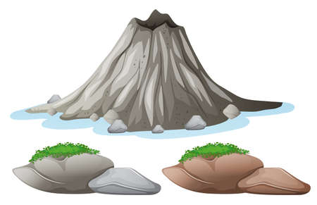 Volcano and different shades of rocks illustration Illustration