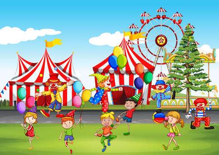 Children having fun at the fun park illustration