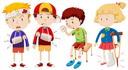 Boys and girl with broken bones illustration