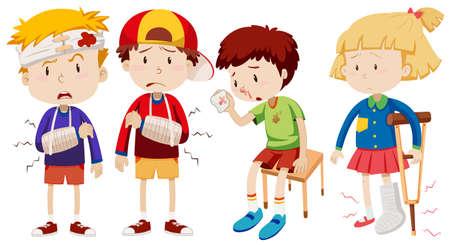 Boys and girl with broken bones illustration