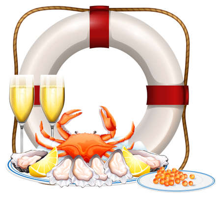 Seafood on plate and two glasses of champagne illustration
