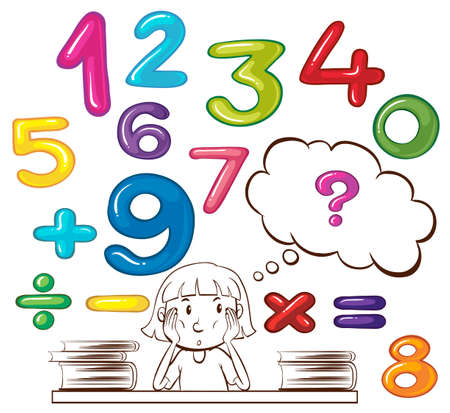 six objects: Girl thinking about numbers illustration