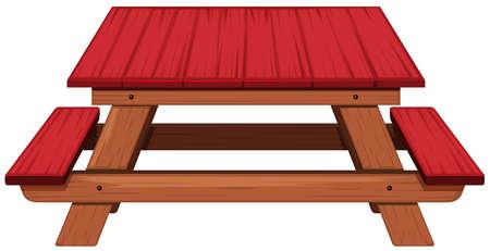 Tavolo da pic nic dipinto in illustrazione rossa