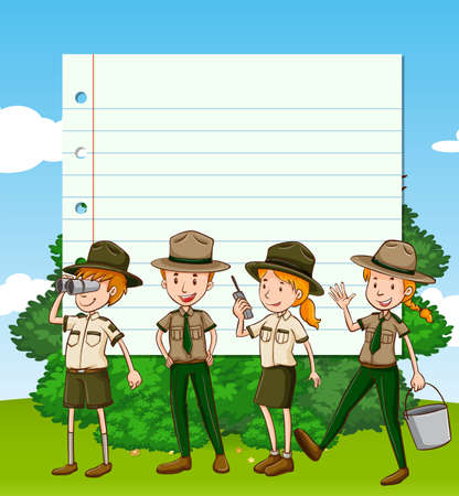 Paper template with four park rangers illustration