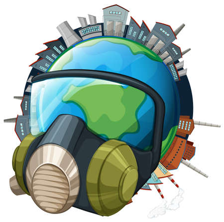 the greenhouse effect: Environmental theme with earth wearing mask illustration