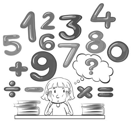 six objects: Girl thinking about math problem illustration Illustration