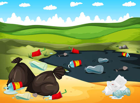 garbage bag: Rubbish in river and on the ground illustration