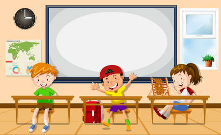Kids learning in the classroom illustration  イラスト・ベクター素材