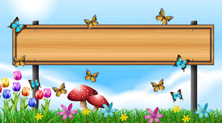 Wooden sign template with butterflies in garden illustration
