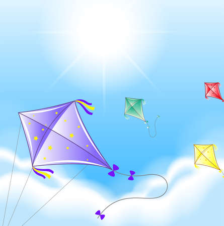 colourful sky: Four colorful kites in the sky illustration Illustration
