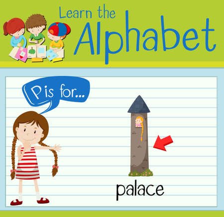 p buildings: Flashcard letter P is for palace illustration
