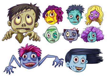 Set of zombie heads illustration Illustration
