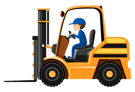 working people: Male driver driving forklift illustration