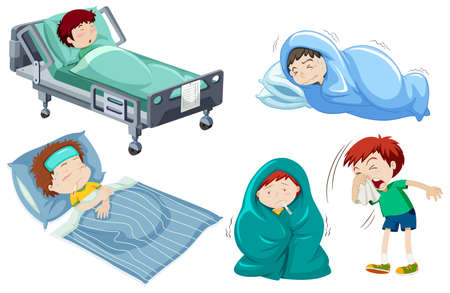 Kids being sick in bed illustration