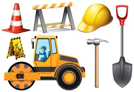 ロード ローラー、その他道路設備図  イラスト・ベクター素材