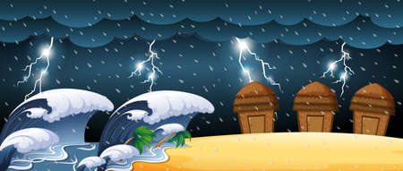 thunderstorms: Disaster scene with tsunami and thunderstorms illustration Illustration