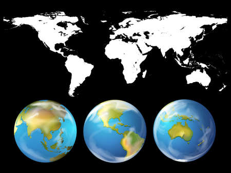 geography: Geography theme with world atlas illustration