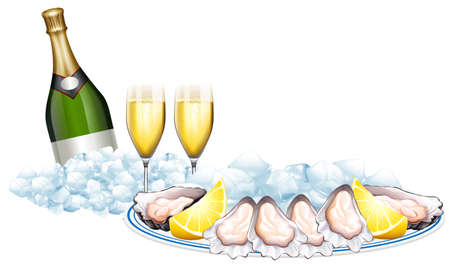 Fresh oysters and champagne bottle illustration Illustration