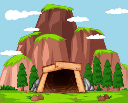 Mine entrance at the mountain illustration Ilustracja