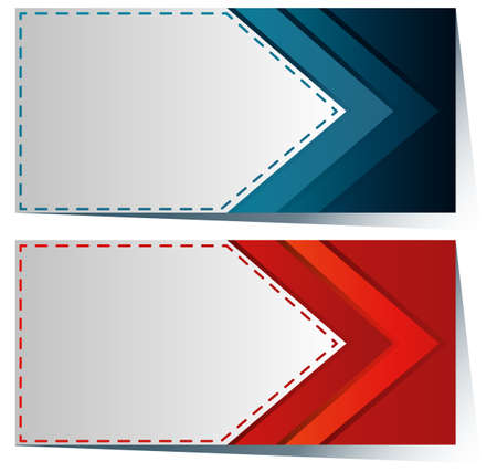 multiple objects: Label template with blue and red arrow illustration Illustration