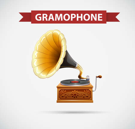 clipart speaker: Icon design with gramophone illustration