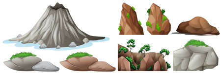 alpine plants: Nature elements with rocks and mountains illustration Illustration