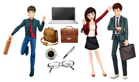 Business people and personal items illustration Illustration