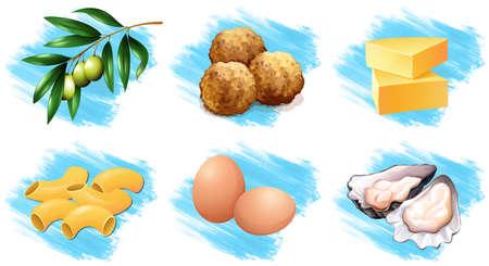 multiple: Different types of food ingredients illustration Illustration