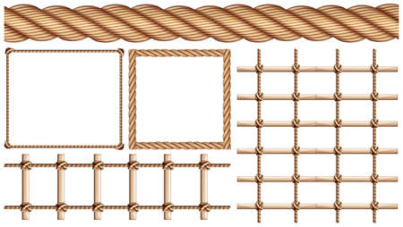 ladder: Rope and many uses of rope illustration Illustration