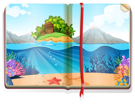 island clipart: Scene with island in the ocean in the book illustration