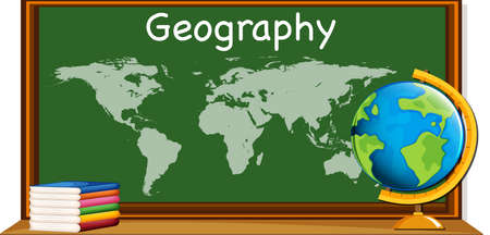 Geography subject with worldmap and books illustration