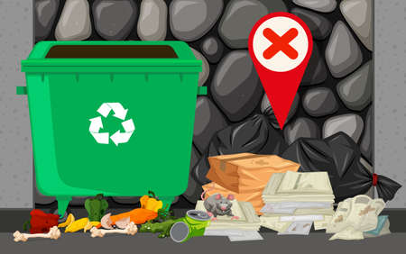 trashcan: Trashcan and pile of trash on the street illustration