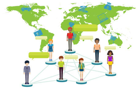 worldmap: Infographic with people and world map illustration
