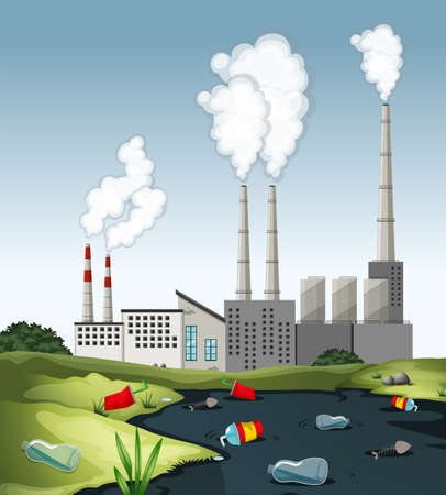 Scene with dirty water at the factory illustration