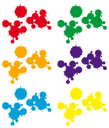 Splash background in six colors illustration