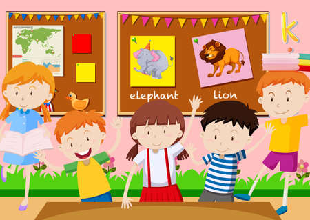 studying classroom: Five students learning in the classroom illustration