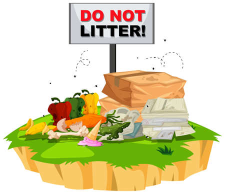 waste heap: Do not litter sign with trash underneath illustration Illustration