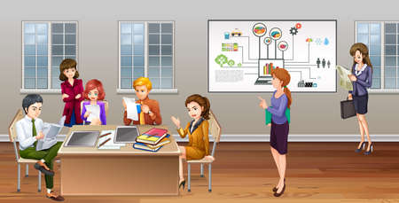 business meeting computer: Many business people working in office illustration