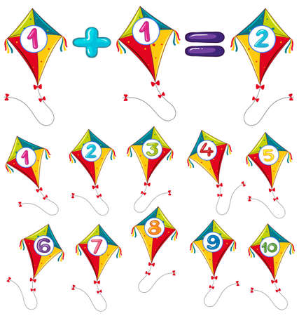 countable: Colorful kites and numbers illustration