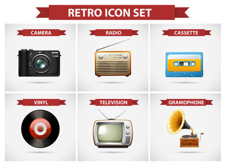 multiple: Retro icon set with different objects illustration