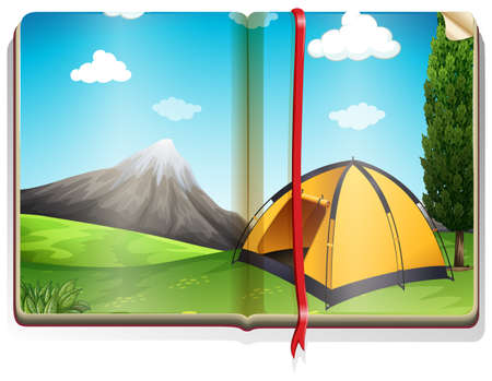 campground: Book with tent in the campground illustration